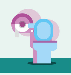 toilet and dispenser paper cartoon bathroom vector image