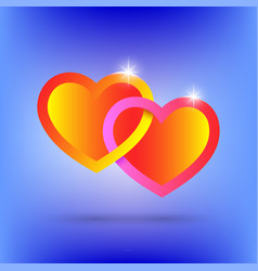 Two bright intertwined hearts dedicated lovers vector