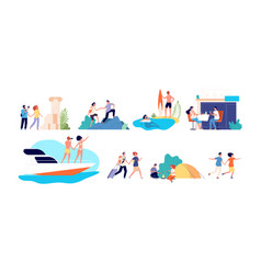 vacation activities women family travel vector image