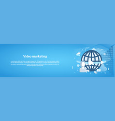 video marketing concept horizontal web banner with vector image