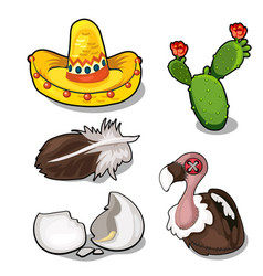 Vulture it feather and egg sambrero cactus vector