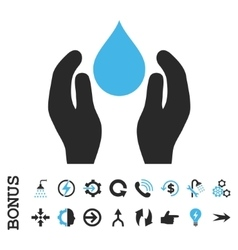 Water Care Flat Icon With Bonus vector image