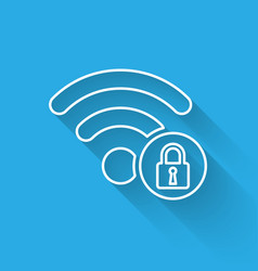 white wifi locked sign line icon isolated with vector image