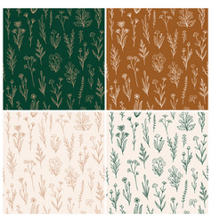 Wildflower seamless pattern set with outline vector