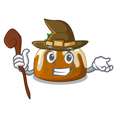 Witch christmas pudding on dinning table cartoon vector