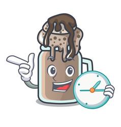 With clock milkshake character cartoon style vector