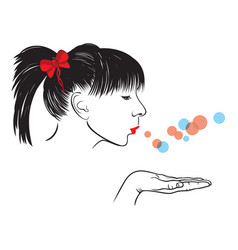 woman blowing vector image
