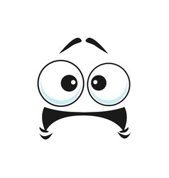 Worried unsure amazed emoticon with curved mouth vector