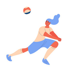 young woman playing volleyball concept cartoon vector image