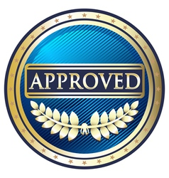 Approved blue label vector