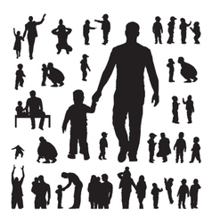 Children and parents silhouettes set vector image