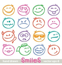 hand drawn smiles vector image vector image