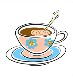 latte coffee Cup on a saucer vector image vector image