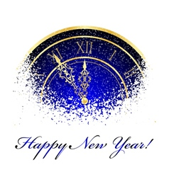new year snow clock vector image vector image