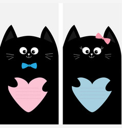 black cat kitty family holding blue pink heart vector image vector image