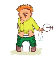 Ill man with stomach issues sit on lavatory vector image