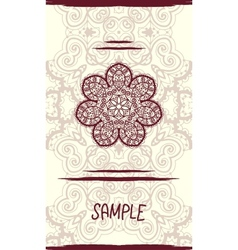 Vertical wedding Card with ornate mandala floral vector image vector image