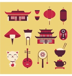 Chinese Travel Icons vector image vector image