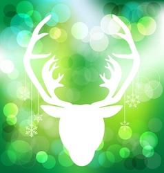 Christmas reindeer on green bokeh background vector image