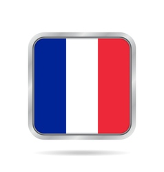 Flag of France Shiny metallic gray square button vector image