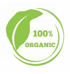 Leaf shaped logo eco friendly emblem vector image