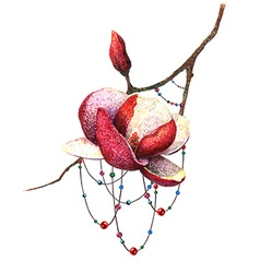 Magnolia and Beads vector image