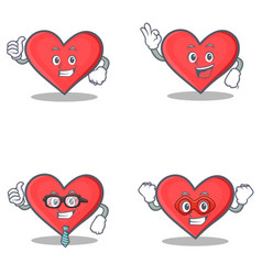 Set of heart character with proud okay businessman vector