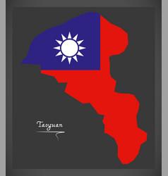 taoyuan taiwan map with taiwanese national flag vector image vector image