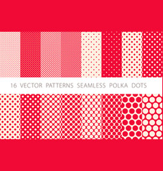 16 patterns seamless polka dots set red background vector image vector image