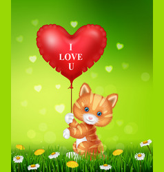 cartoon cat holding red heart balloons vector image vector image