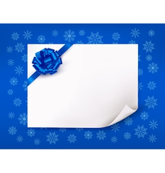 Christmas blue background with sheet of paper vector image vector image