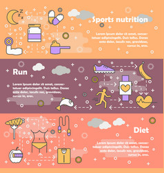 sport food concept flat line art banner set vector image