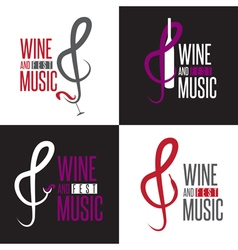 wine and music festival emblems set design vector image