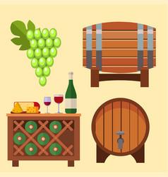 winery making harvest cellar vineyard glass vector image