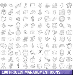 100 project management icons set outline style vector image