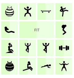 14 fit icons vector