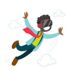 A black man in virtual reality headset flying in vector