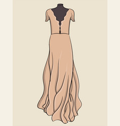 A long evening dress is pink with light fabric on vector