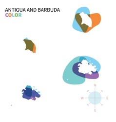 Abstract color map of antigua and barbuda vector
