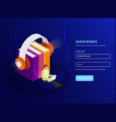 Audio books isometric background vector