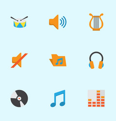 Audio flat icons set collection of audio dj vector