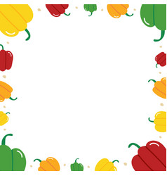 bell peppers and dots frame card template vector image