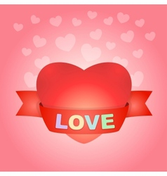 Big love heart on pink vector image