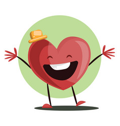 big red heart witha yellow hat laughing with arms vector image