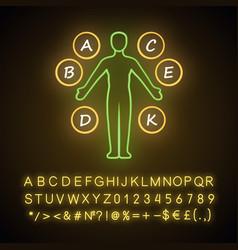 Body vitamins neon light icon a b c d e k vector