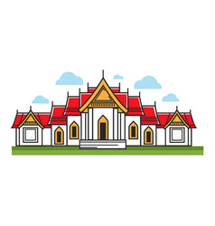 building with red roof vector image