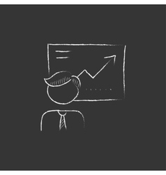 Businessman with infographic Drawn in chalk icon vector