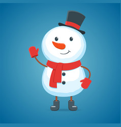 cartoon snowman on a white background vector image