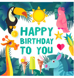 Children birthday design template exotic jungle vector