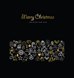 christmas and new year gold icon set card pattern vector image